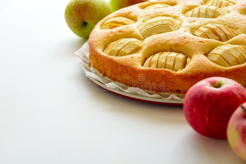 Homemade apple pie on gray wooden desk.  stock image