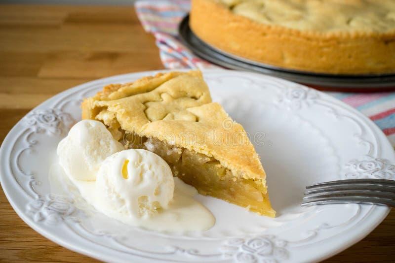 Homemade apple pie with ice cream royalty free stock image