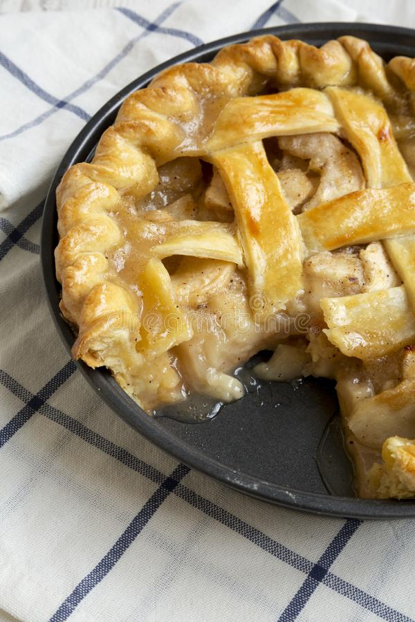 Homemade apple pie ready to eat, low angle view. Close-up.  royalty free stock photo