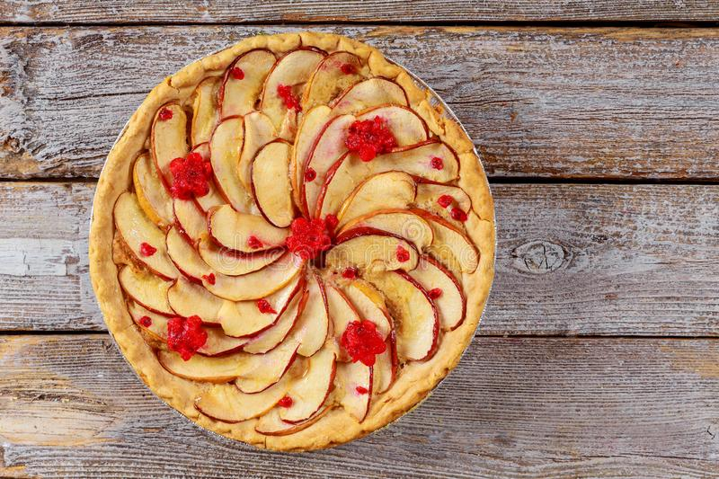 Homemade apple pie with sliced apple. Top view stock photo
