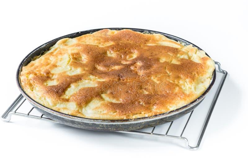 Apple pie. Homemade apple pie on white background. Ingredients: sliced apples, butter, milk, eggs, sugar, yeast, salt, wheat flour 00 stock image