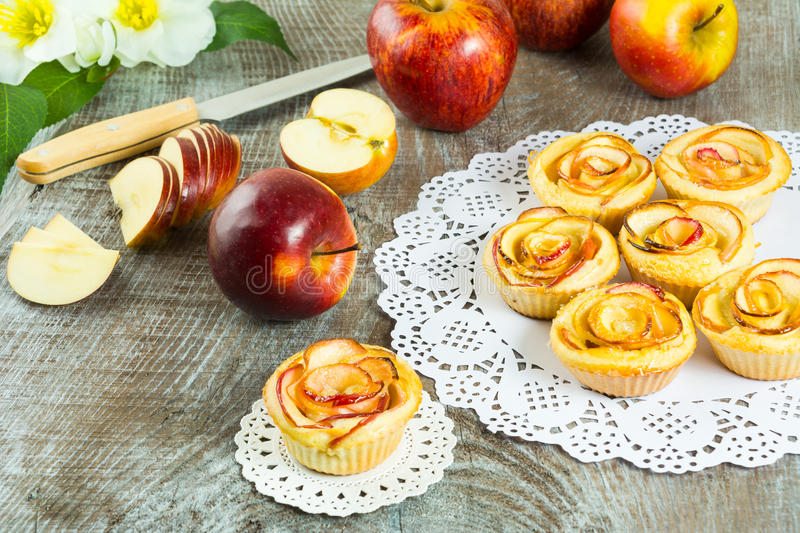 Homemade Apple rose cake royalty free stock photography
