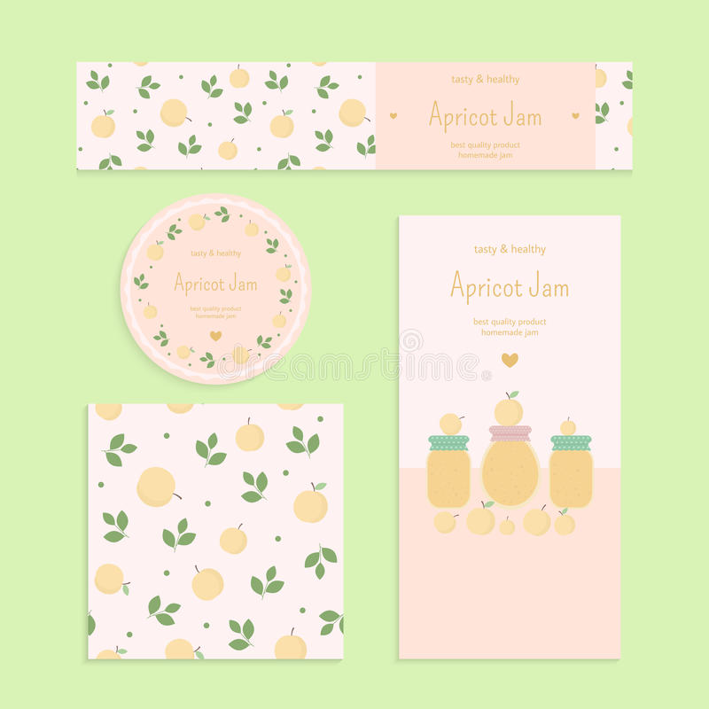 Homemade apricot jam set. Flyer, banner, brochure, label, seamless patterns with apricots, leaves and jars of jam. Vector elements for design royalty free illustration