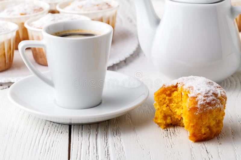 Homemade Autumn Pumpkin Muffin Ready to Eat royalty free stock image