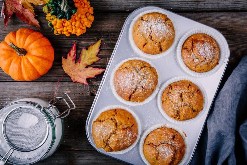Homemade Autumn Pumpkin Muffins royalty free stock image