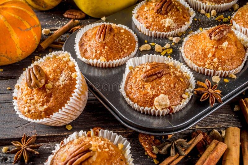 Homemade Autumn Pumpkin Muffins stock photos