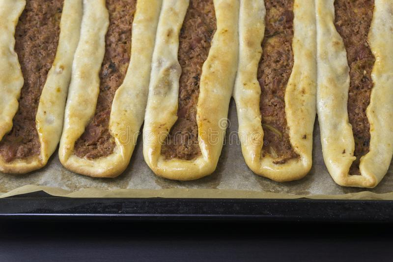 Homemade backed pide royalty free stock images