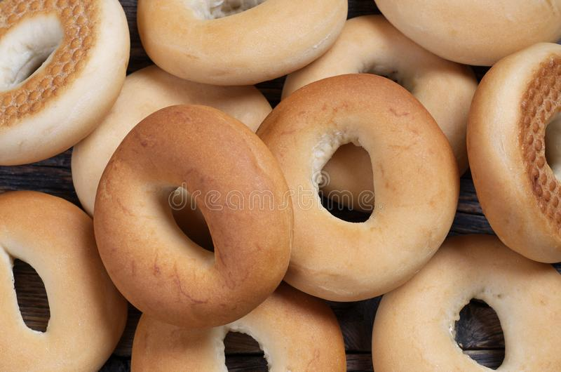 Homemade bagels close-up stock image