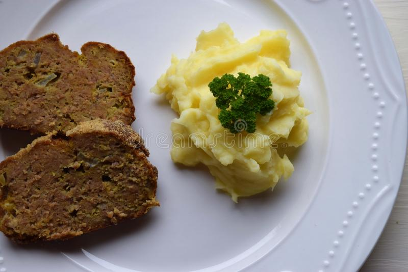 Homemade baked Ground pork Meatloaf with Spices stock photos