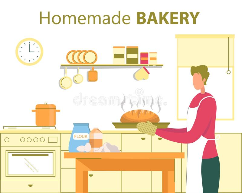 Homemade Bakery, Home Cooking Flat Vector Concept royalty-vrije illustratie
