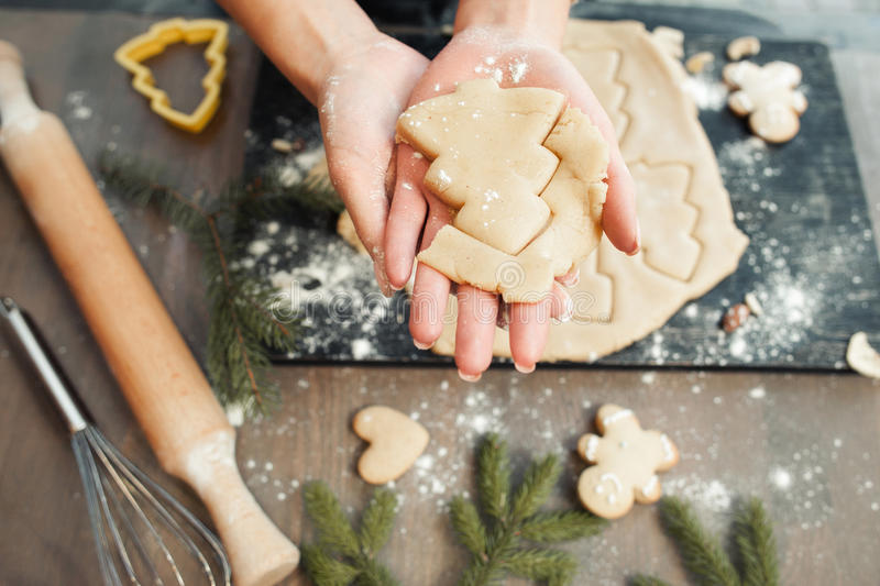 Homemade bakery making, gingerbread cookies royalty free stock photo