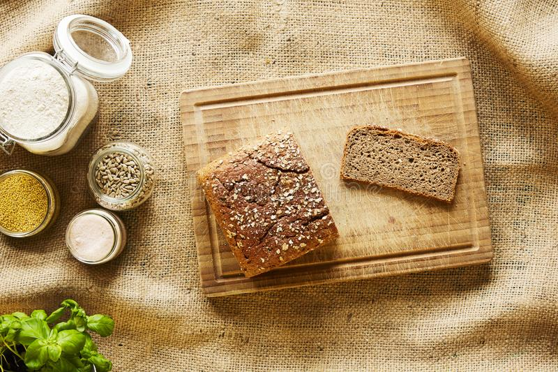 Homemade baking fresh bread and ingredients royalty free stock photo