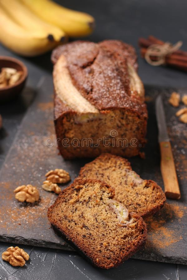 Homemade banana bread with walnut and cinnamon royalty free stock image