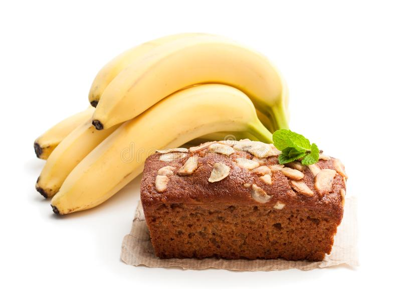 Homemade banana loaf cake with fresh bananas isolated on white stock images