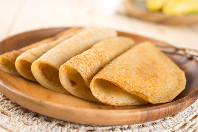 Homemade banana pancake or crepe royalty free stock image