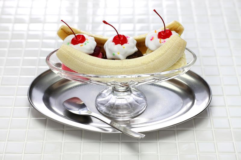 Homemade banana split sundae royalty free stock photo