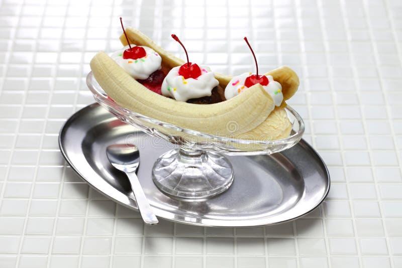 Homemade banana split sundae royalty free stock images