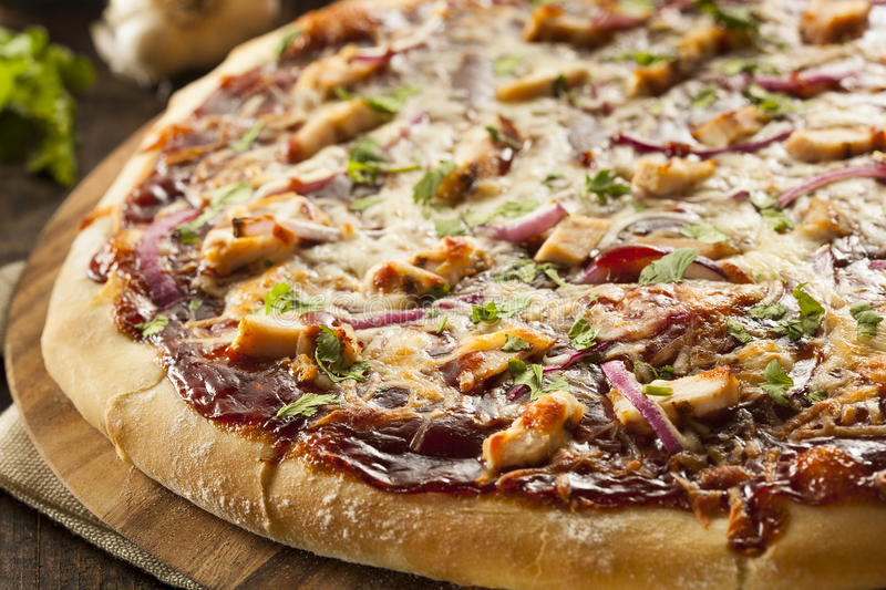 Homemade Barbecue Chicken Pizza stock image