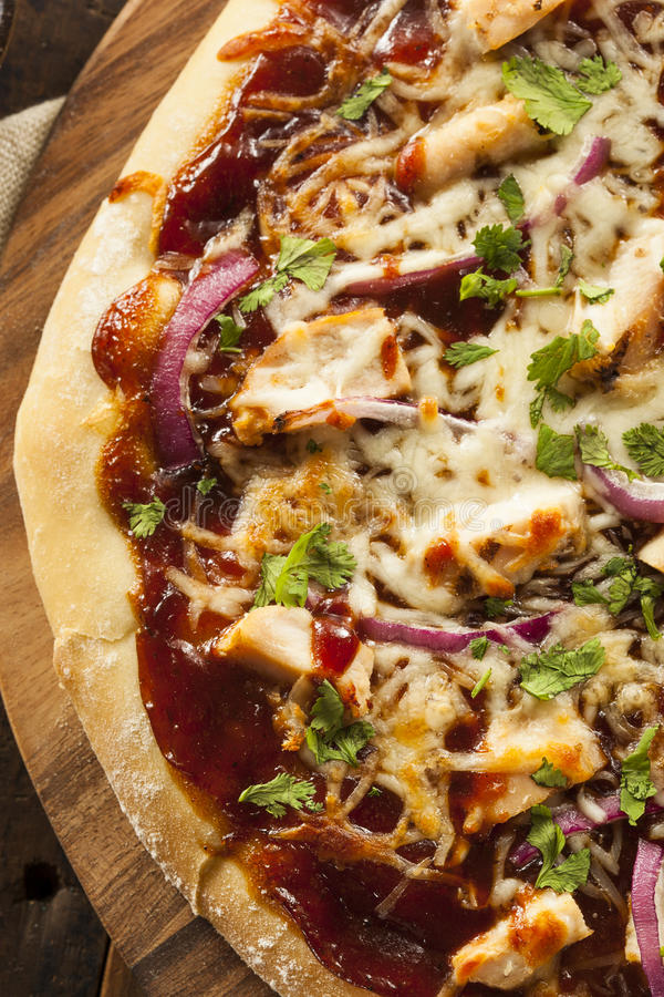 Homemade Barbecue Chicken Pizza royalty free stock images