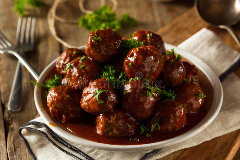 Homemade Barbecue Meat Balls. With Red Sauce stock photos