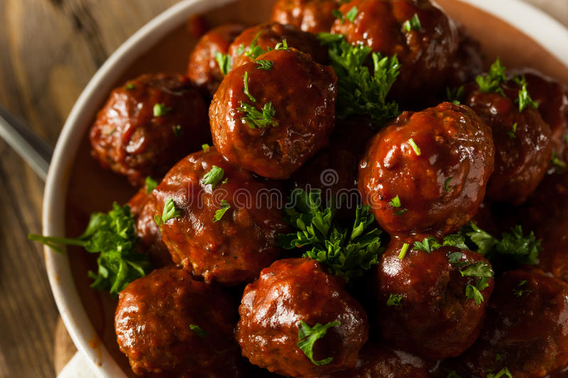 Homemade Barbecue Meat Balls stock images