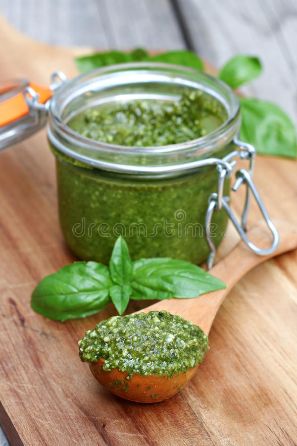 Free Homemade Basil Pesto Stock Photo - 45457680
