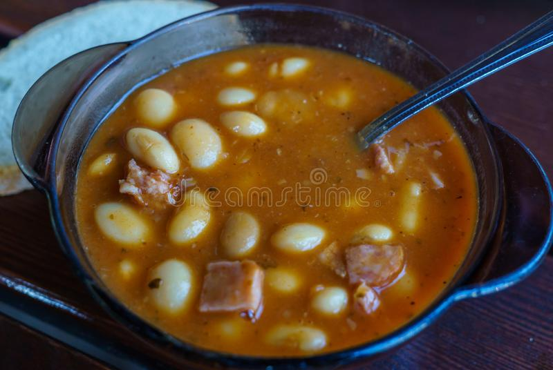 Homemade bean soup made from beef, vegetables and spices.  stock photo