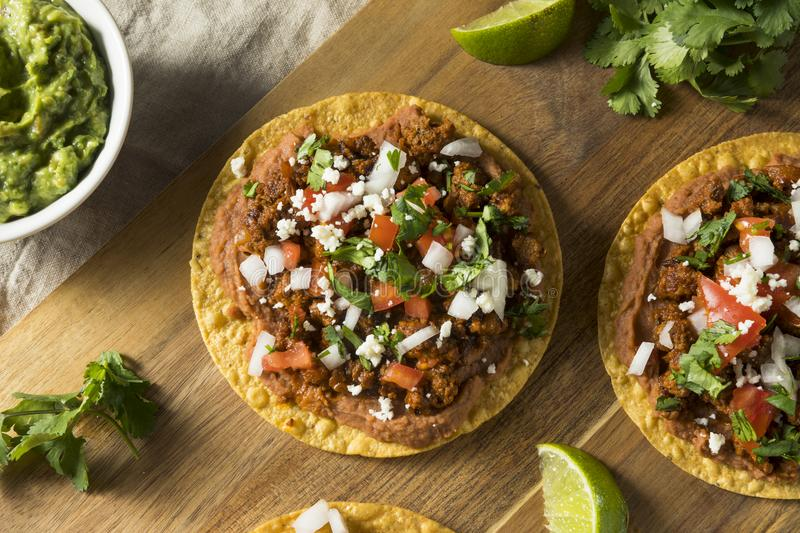 Homemade Beef and Cheese Tostadas stock images