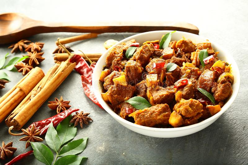 Homemade beef fry with exotic spices. stock image