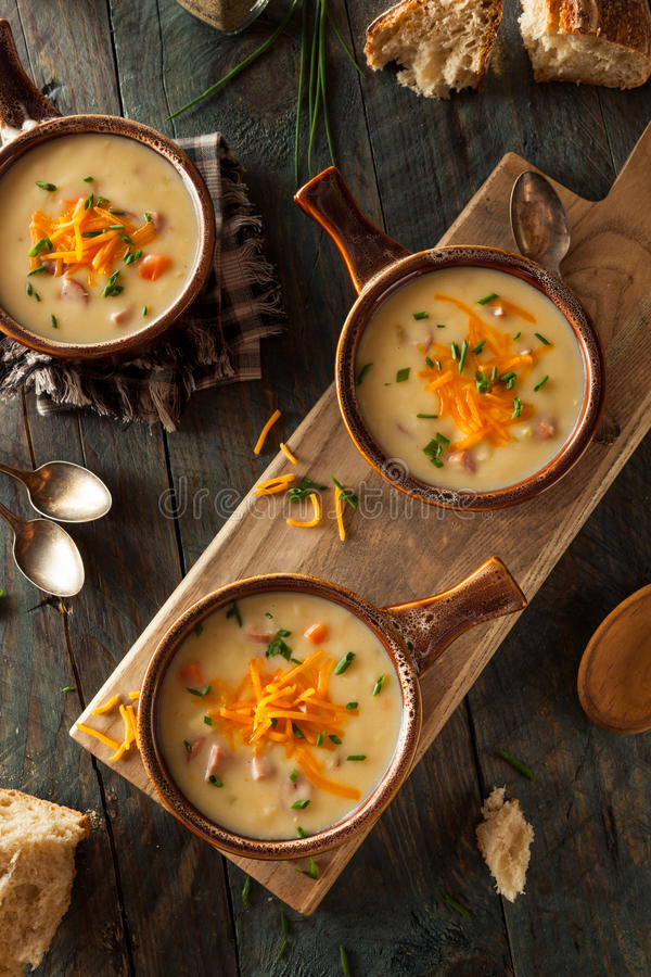Homemade Beer Cheese Soup. With Chives and Bread stock photo