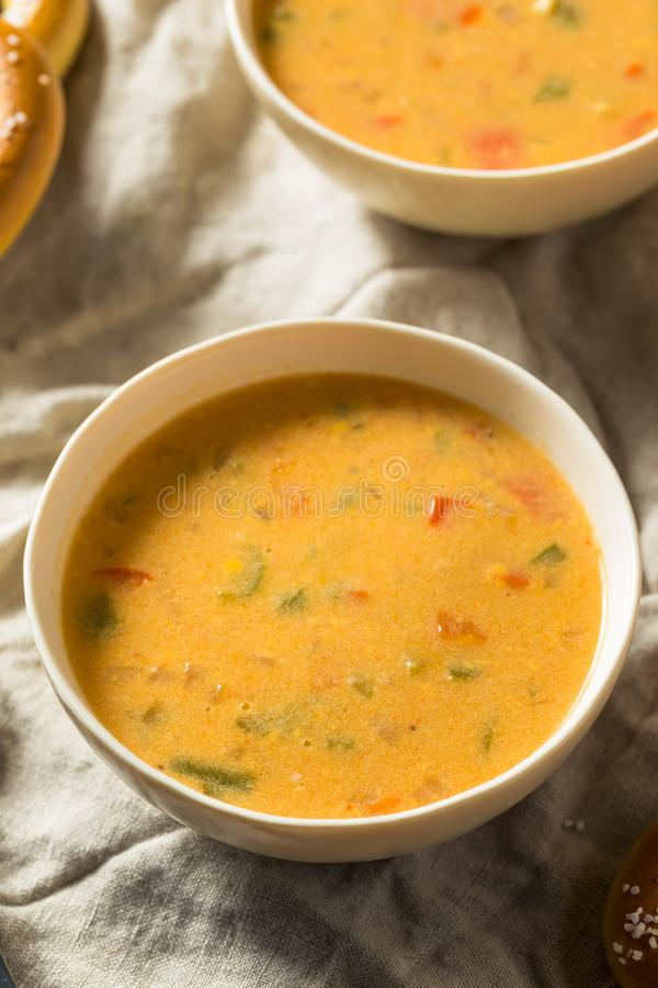 Homemade Beer Cheese Soup. With Soft Pretzels royalty free stock photo