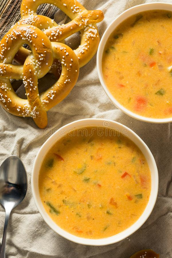Homemade Beer Cheese Soup. With Soft Pretzels royalty free stock photos