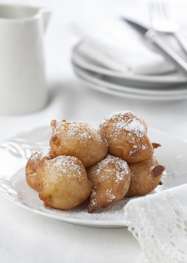 Homemade beignets stock photos