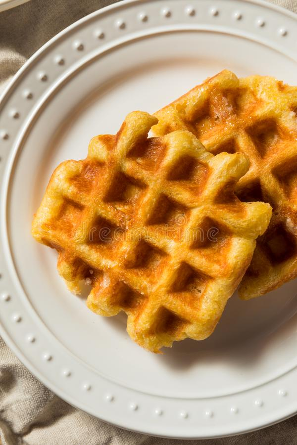 Homemade Belgian Sugar Waffles royalty free stock images