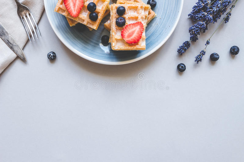 Homemade belgian waffles with blueberries and strawberries on the light blue table with copy space stock image
