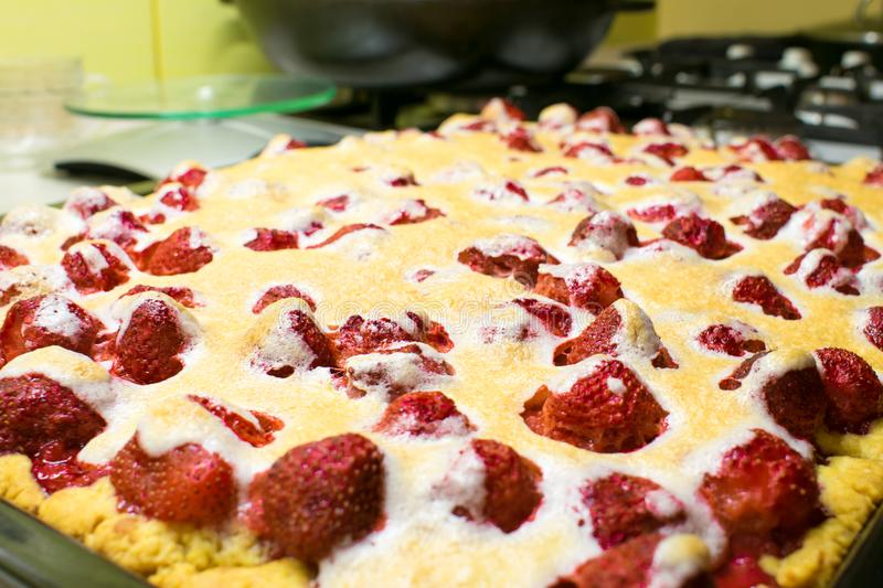 Homemade big strawberry pie tart cake with With whole berries an stock photos