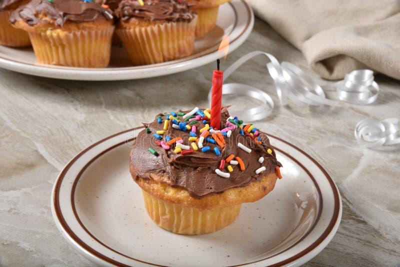 Homemade birthday cupcake stock photography