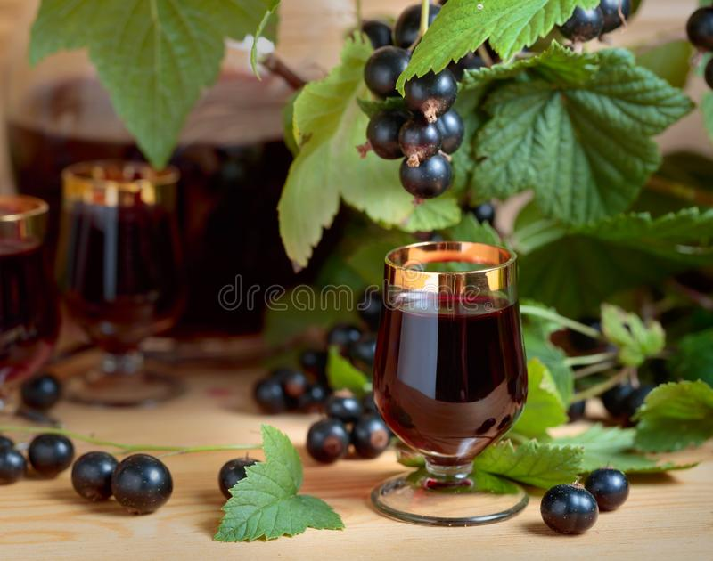 Homemade black currant liqueur and fresh berries stock photos
