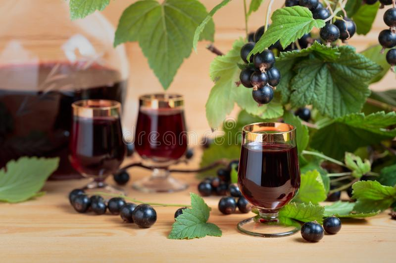 Homemade black currant liqueur and fresh berries royalty free stock photo