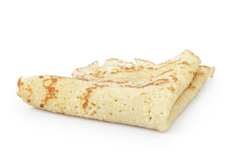 Homemade blinis or crepes folded, isolated stock image