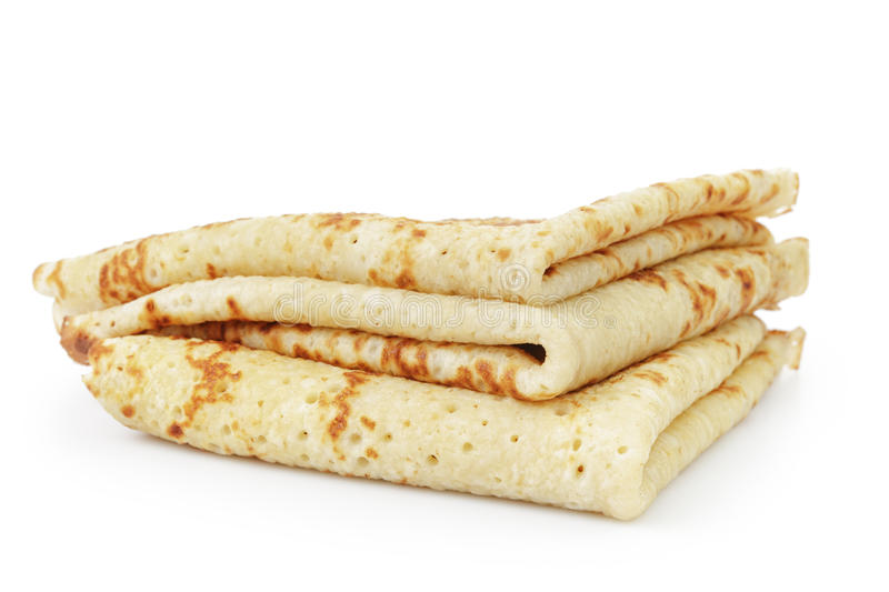 Homemade blinis or crepes folded, isolated royalty free stock photos