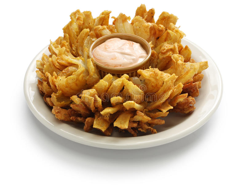 Homemade blooming onion isolated on white background royalty free stock photos