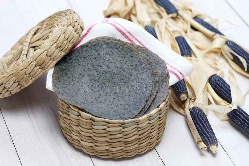 Homemade blue corn tortilla stock photos