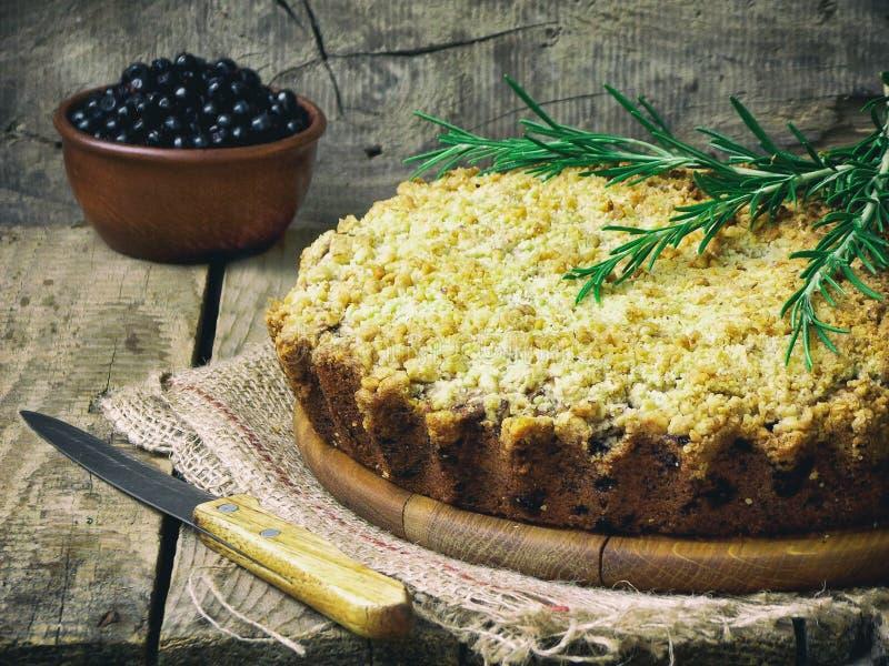 Homemade blueberries crumble pie stock photo