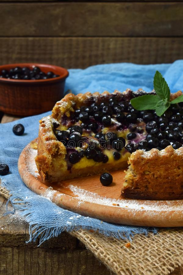 Homemade blueberries pie with custard on shortbread dough. Berries cake. stock photos