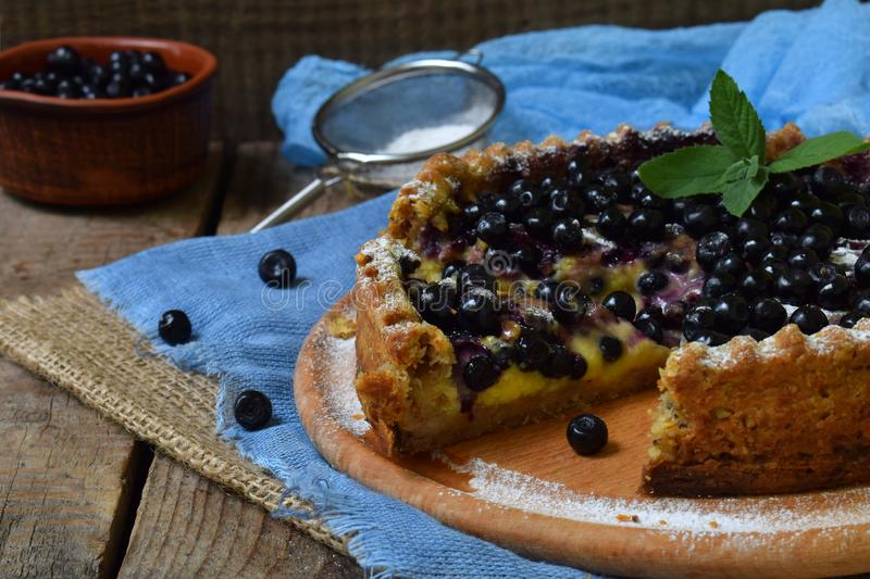 Homemade blueberries pie with custard on shortbread dough. Berries cake. stock photography