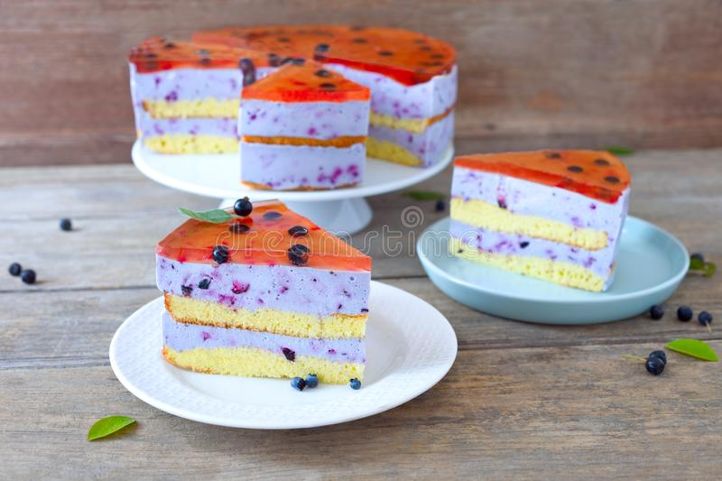 Jelly cake. Homemade blueberry jelly biscuit cake stock photo
