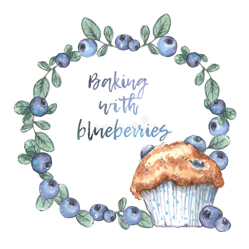 Homemade blueberry muffins with real blueberries. Watercolor illustration stock illustration