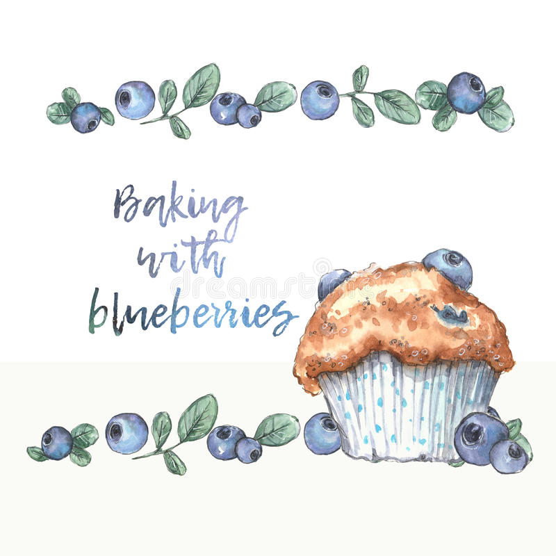 Homemade blueberry muffins with real blueberries. Watercolor illustration vector illustration