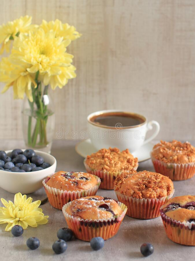 Homemade blueberry muffins on a rustic  table and a cup of coffee stock photo
